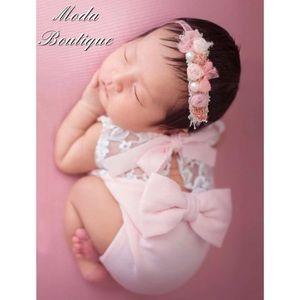 Newborn Photo Prop, Pink Baby Romper